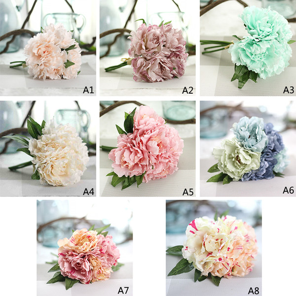 Artificial Flower Hydrangea Peony Bridal Bouquet Silk Flower For DIY Home Party Decor with Green leaf Natural Lifelike 5 Heads