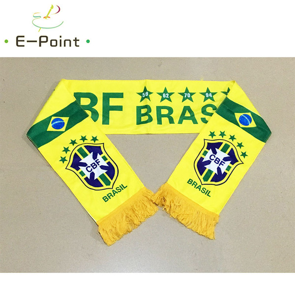 145*16 cm Size Brazil National Football Team Scarf for Fans 2018 Russia Football World Cup Double-faced Velvet Material
