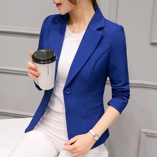 Printemps Femmes Mince Blazer Manteau 2018 Plus La Taille Casual Veste À Manches Longues Un Bouton Costume Lady Blazers De Travail Porter P2812