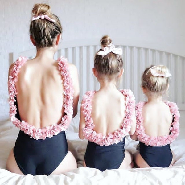 best selling INS Girls flowers backless swimwear mommy and me one-piece swimming fashion kids stereo petal suspender beach holiday swimsuits Y7112