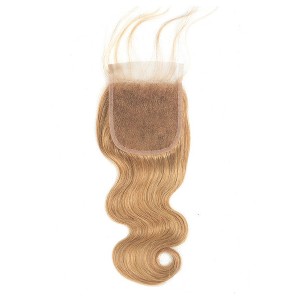 """Brazilian Body Wave Lace Closure 100% Human Hair Lace Closure 10""""-20"""" Remy Hair 130% Density Swiss Lace Honey Blonde #27 Color"""