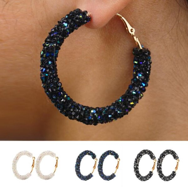 top popular Brand designer new hoop earrings women fashion austrian crystal hoop earring geometric round shiny rhinestone big earings jewelry 2019