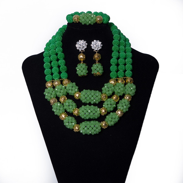 Green Coral Beads and Crystal Beads Combination Beaded Necklace Wedding African Beads Jewelry Set Bridal Nigerian Jewelry Set for Women