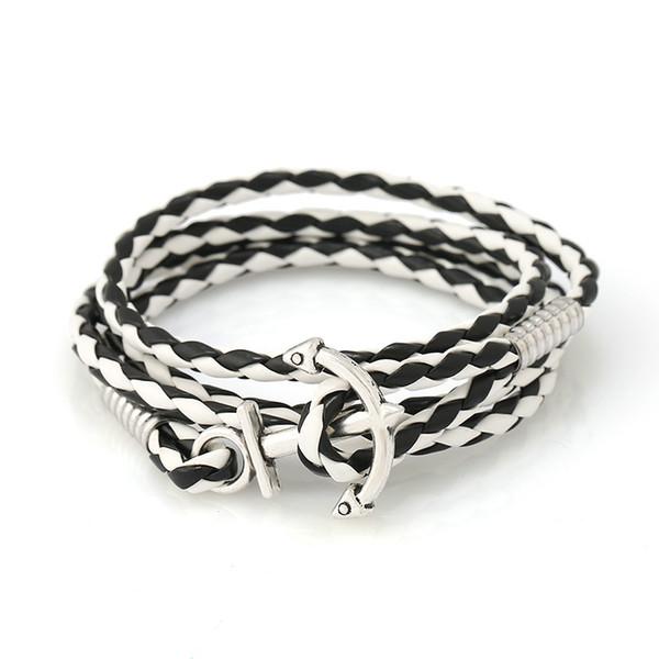 PU Leather Handmade Bracelet Knitting Ship Anchor Bracelet Navigation Navy Wind Leather bracelets & bangles for women and men