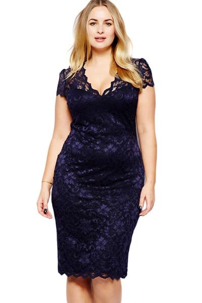 Fashion Lace Party Dresses Summer Elegant Women Tunic Navy Blue Scalloped V -Neck Lace Plus Size Midi Dress