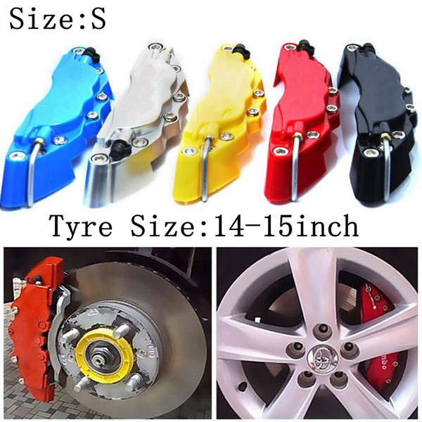 top popular S size 14-15inch Tyre Universal Brake Caliper 2pcs lot Car ABS Calipers Front Rear 3D Disc Cover Kit 2021
