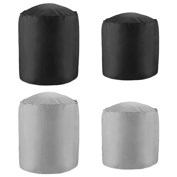 Cubierta impermeable redonda para barbacoa de barbacoa con bolsa de almacenamiento Protector de parrilla portátil negro Prevención de polvo