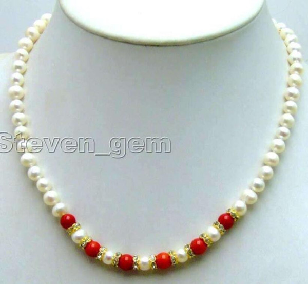 """new Style Hot sale***SALE 6-7mm White natural freshwater Pearl &6mm Red Coral 17"""" Necklace Fashion Wedding Party Jewellery"""