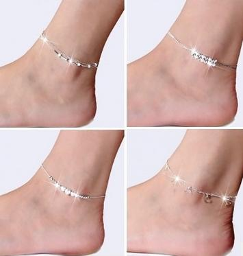50pcs/lot Foot Jewelry Anklets Hot Sale Silver Anklet Link Chain For Women Girl Foot Bracelets Fashion Jewelry Wholesale Free Shipping
