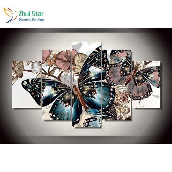 """Zhui Star 5D DIY Full Square Diamond Painting """"butterfly"""" Cross stitch Multi-picture Combination 3D Mosaic fashion Decor Y18102009"""