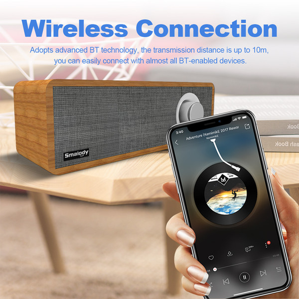 Smalody SL-50 Wireless Bluetooth Speaker 8W Portable Wooden Soundbar Strong Bass Sound Box Music Subwoofer For Tablet Laptop PC
