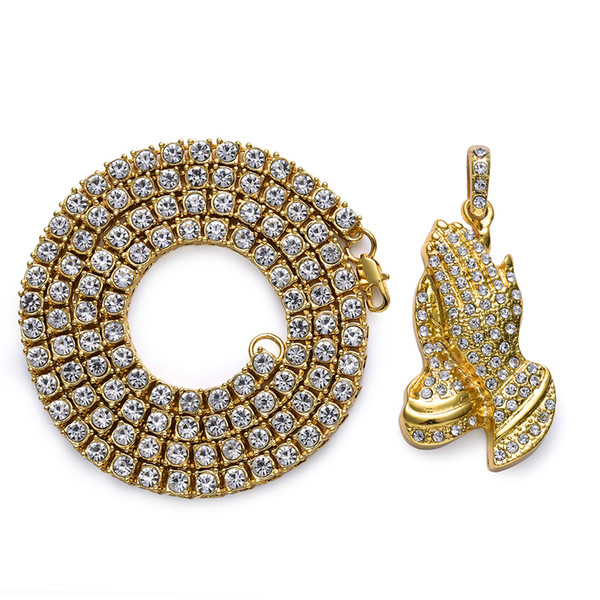 Hip Hop Jewelry Gifts Golden Bling 1 Row Rhinestone Stone Jesus Necklaces Pendants Women Men Praying Buddha Hands Chains Y1891908