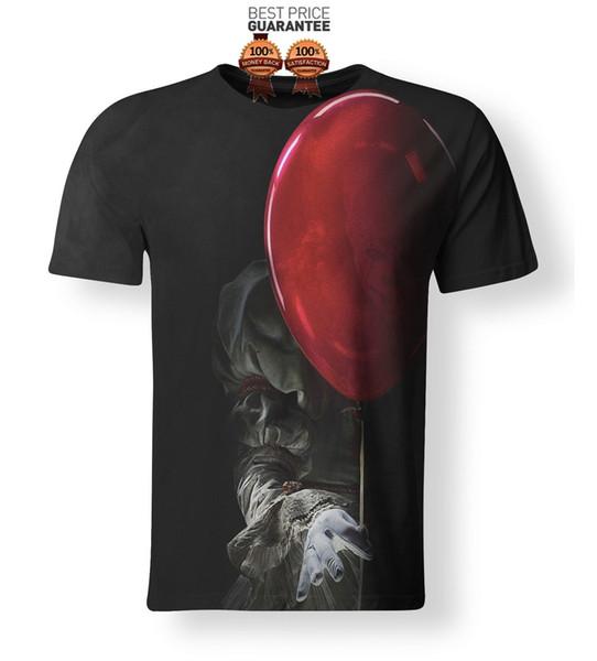 NOUVEAU 3D T-Shirt D'impression Stephen King Il Film 2017 Pennywise Horreur Clown Hommes Femmes D'été À Manches Courtes En Coton T-Shirt top tee