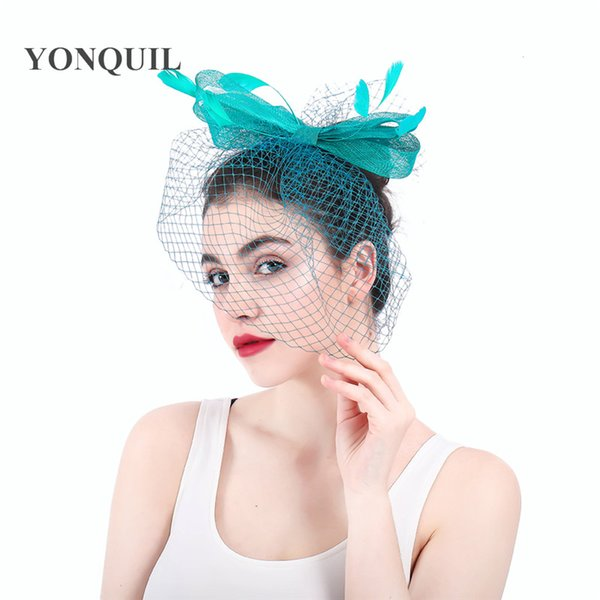 Bowknot shape sinamay fascinators hat with veils multicolor fashion bridal wedding headdress fancy feather race hair accessories SYF303