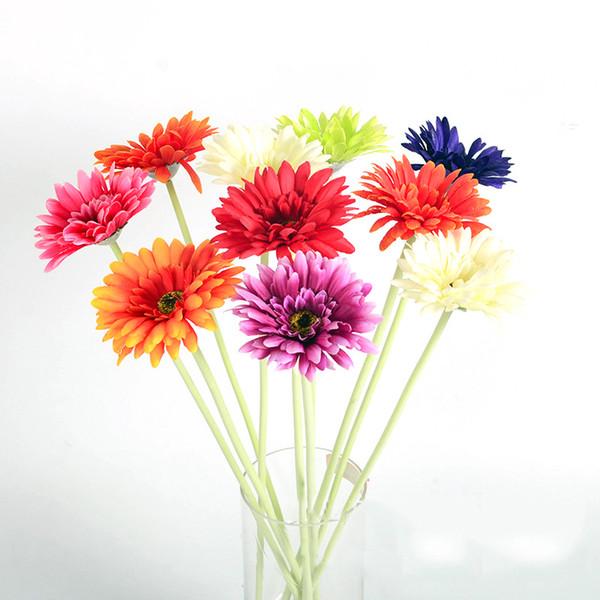 7pcs Artificial gerbera Silk Flower for Home Decoration & Wedding Mini Gerbera red Pink White Polychromatic long 55cm
