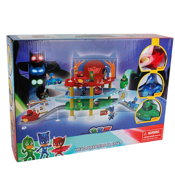 Pajamas Masks Headquarter Playset 3 Action Figures Owlette Catboy Gekko 3 Cars Assembly PJ Tracks Parking Center Boys Girls Toys
