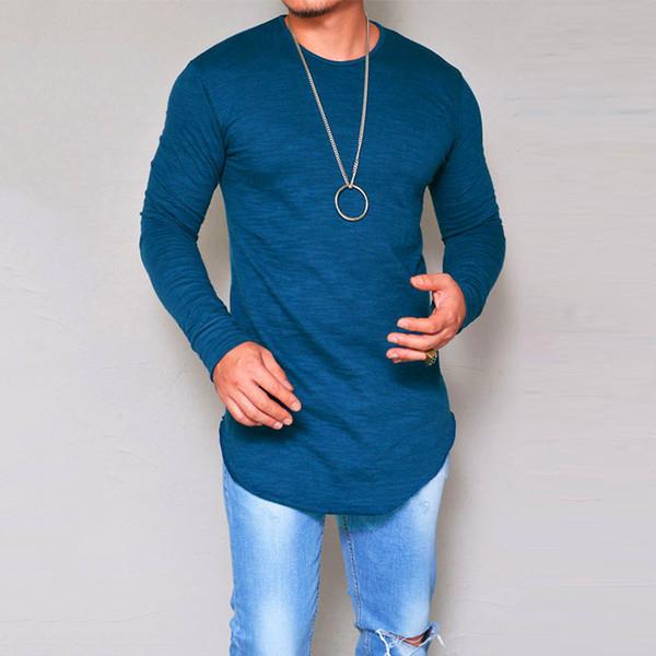 Diseñador de moda camisa de cuello redondo camisetas para los hombres de manga  larga blanca casual 620a3621bf7