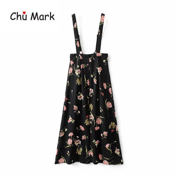 Chu Mark women summer long dress floral print high waist side split overalls female 2018 new fashion maxi vestidos femme 904093