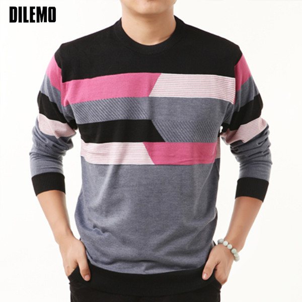 2018 New Fashion Brand Sweater Man Pullovers Striped Slim Fit Jumpers Knitwear Woolen Autumn Korean Style Casual Men Clothes