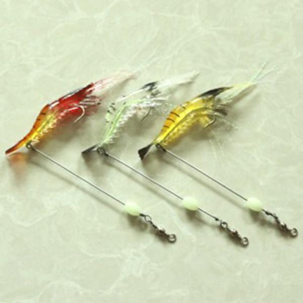 3Pcs/lot soft Plastic Artificial Bait 3D Fish Lifelike Luminous Shrimps Lures Baits Soft Bait Fishing Lures Silicone Bait