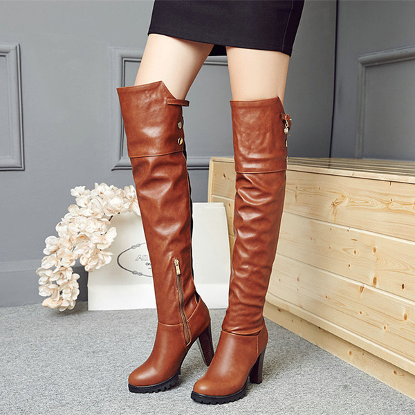Alto Altas La Cuero Compre Mujer Plataforma Hasta Señoras Botas Tacón Pu Rodilla Marrón Cremallera De A51 49 Moda Invierno Zapatos Rojo vNwOm8n0