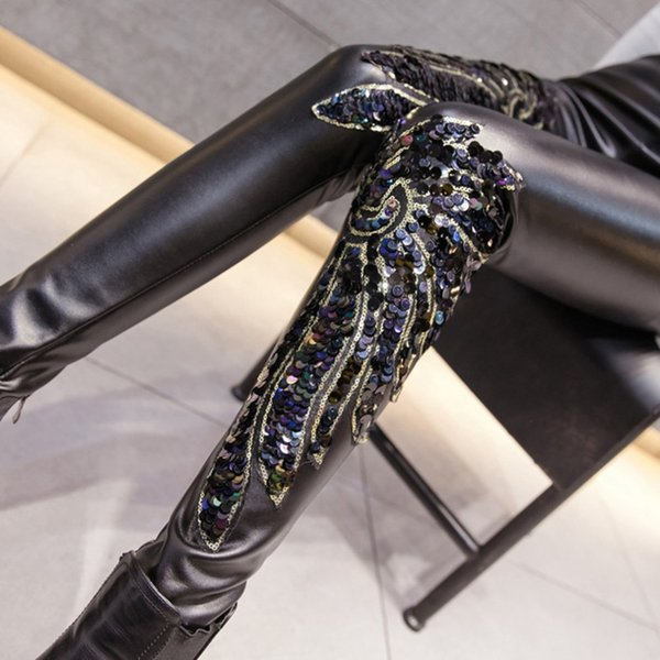 Punk Gothic Women PU Leather Pants Stitching Embroidery Sequin winter Ladies High Waist Elastic Skinny PU Trousers Leggings S18101605