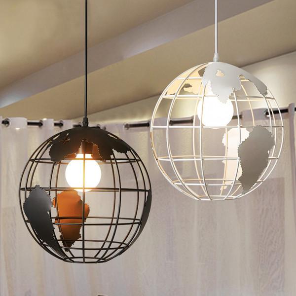 Modern Globe Pendant Lights Black/White Pendant Lamps for Bar/Restaurant Hollow Ball Ceiling Fixtures Pendant Light Globes