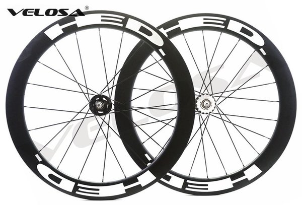 Velosa super sprint 60 HED 700C track bike carbon wheelset,60mm clincher/tubular,fixed gear street bike carbon wheel