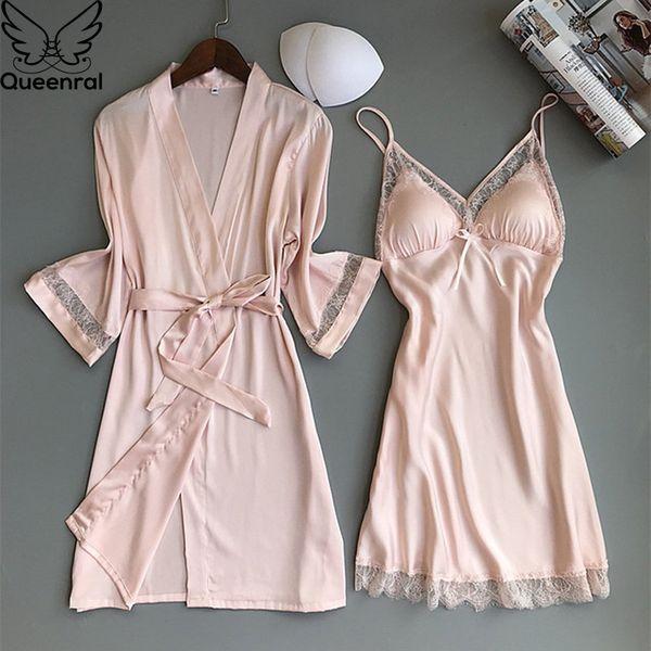 Queenral 2PCS Women Pajamas Silk Satin Robe Nightgown Set Sleepwear Home Suit Night Sleep Plus Size M-XXL Intimate Lingerie