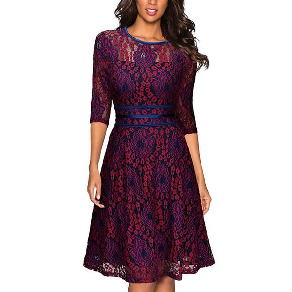Loveying Womens Elegant Scoop Burgundy Lace Dress Vintage Party Vestidos De Festa Half Sleeves Purple Midi Dress 2018 Velvet Dress Knee Length