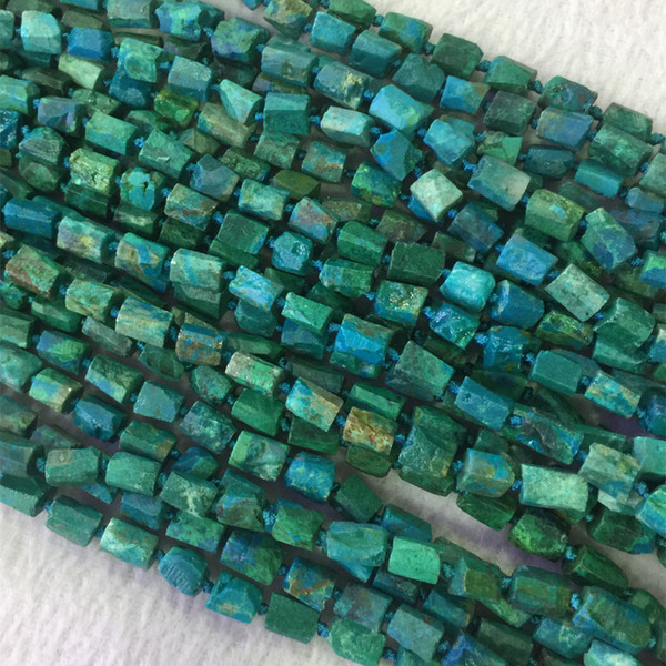 """Natural Genuine Raw Mineral Green Blue Chrysocolla Rough Matte Faceted Nugget Free Form Loose Beads 6-8mm 15"""" 05494"""