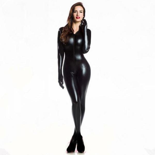 Plus XXL Size Wome's 2way zipper Faux Leather Catsuit Clubwear DS Latex Cat Women With Gloves Fancy Costume Jumpsuit