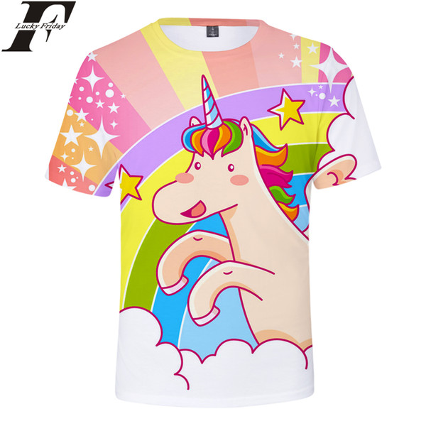Unicorn 3D T-Shirt Short Sleeve 2018 Anime Style Regular T-shirt Man/Women Casual Fashion Style Clothes Plus Size