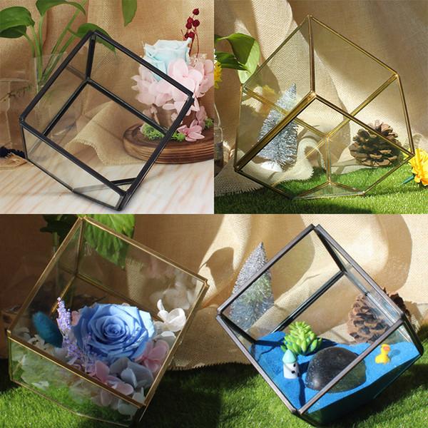 New Garden Miniature Glass Terrarium Geometric Diamond Desktop Garden Planter For Indoor Gardening Home Decor Vases JWX9-672