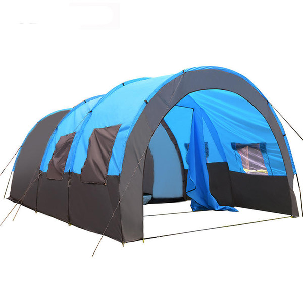 Camping Tent 8-10 People 2 Bedroom 1 Living Room Waterproof Tunnel Double Layer Large Family Canopy Sunshade