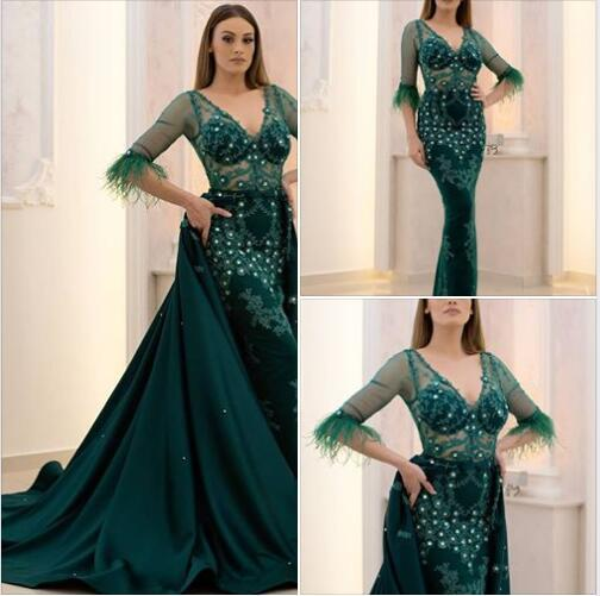 Mermaid Green Elegante Abend Formelle Kleider 2018 Kurze Ärmel Elie Saab Lange Ballkleider Südafrika Abnehmbare Rock mit Federn
