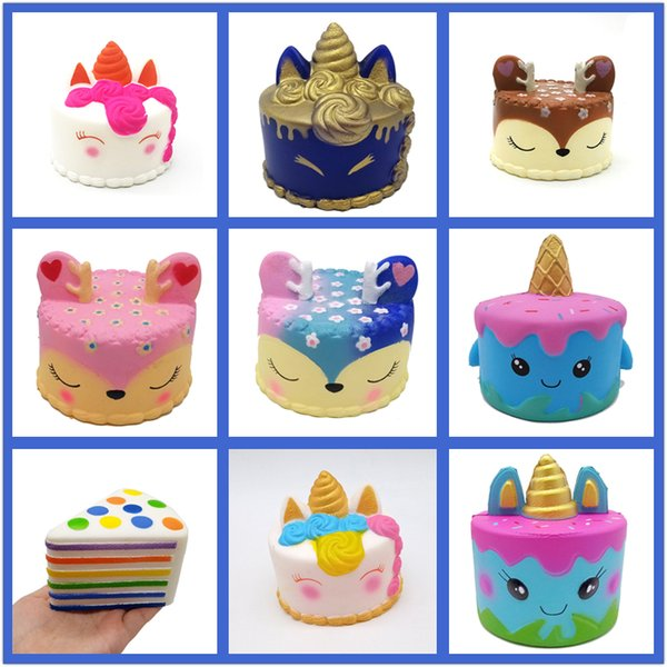 New Squishy Toy unicorn cake Ice cream Football seahorse acaleph burger cat squishies Slow Rising 10cm 15cm Soft Squeeze Cute gift kids t