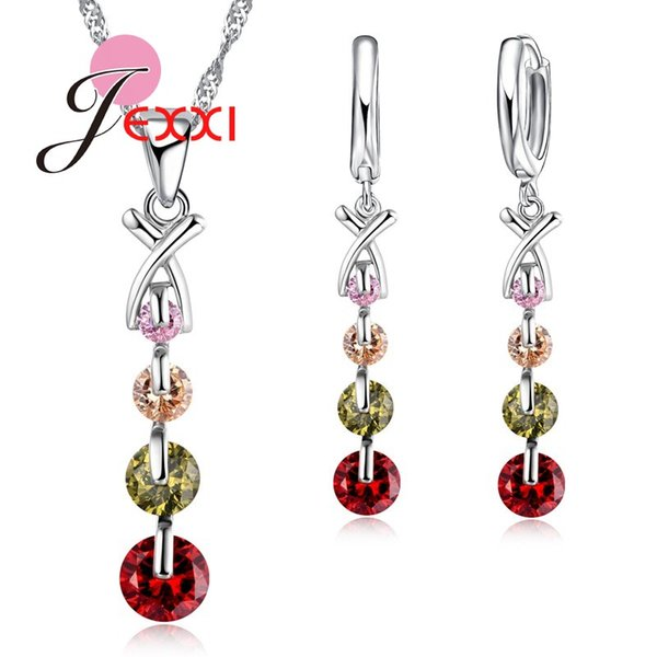 PATICO Fashion String Colorful CZ Crystal Jewelry Sets Wholesale 925 Silver Necklace Earring Wedding Bridal Engagement