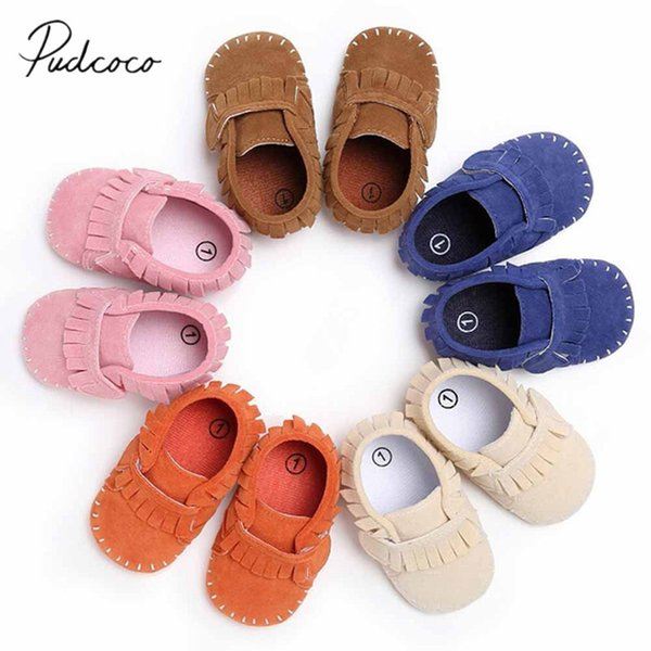 2018 Brand New Baby Tassel Soft Sole Suede Shoes Infant Boy Girl Toddler Newborn Moccasin Candy Color Solid First Walkers 0-18M