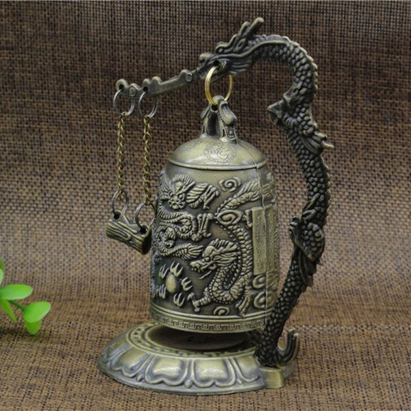 Chinese Beautifully carved Bronze Copper carp Statue Bell fengshui bells