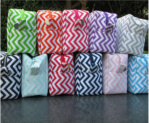 ROYALBLANKS 11 Colors Personalized Chevron Cosmetic Bags & Cases Zipper Closure Bridesmaid And Graduation Great Gifts(FedEx Free Shipping)