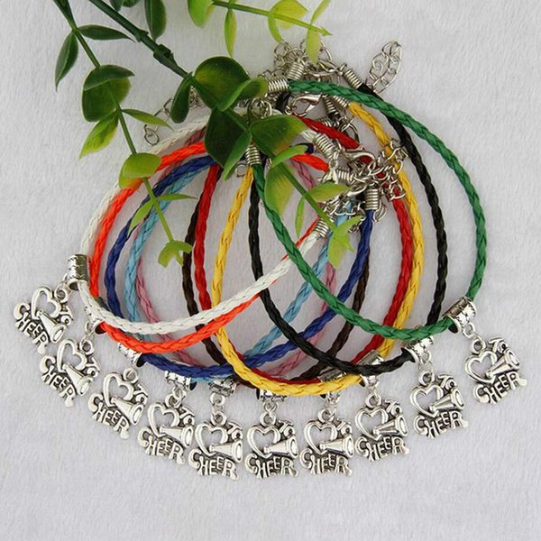 50pcs/Bag Ancient Silver I Love Cheer Charms Pendants 20+5cm Mixed Color Braided Rope Bracelets Fashion Women&Men Jewelry Holiday Gift