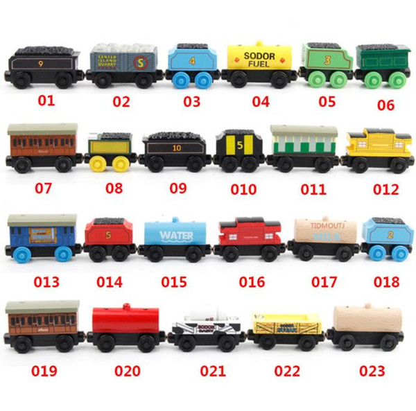53 Style Wooden Toy Vehicles Wood Trains Model Toy Magnetic Train Gifts for Boys Girls Great Kids Christmas Toys
