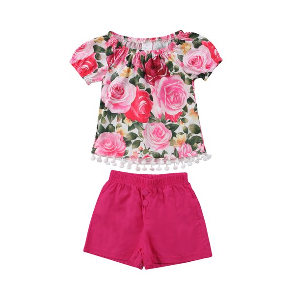 Pudcoco Rose Pink Bright Pompoms 2Pcs Newborn Infant Baby Girl Short Sleeve Tops+Shorts Pants Casual Outfits