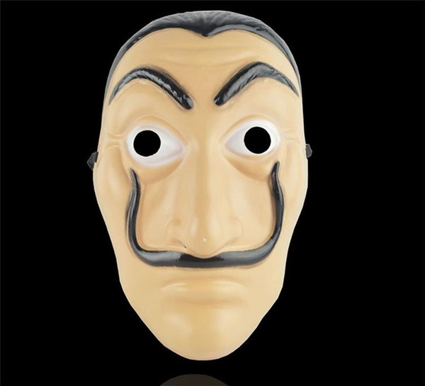 2018 Cosplay Party Masque La Casa De Papel Visage Masque Salvador Dali Costume Film Masque Réaliste Halloween Fournitures