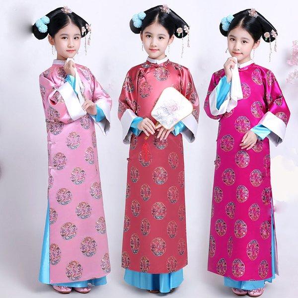 Altes Kostüm der Kinder Qing-Dynastie-Gerichts-Prinzessin Hanfu Kleid Traditionelle Volkstanz-Kleidung scherzt chinesisches ethnisches Kostüm