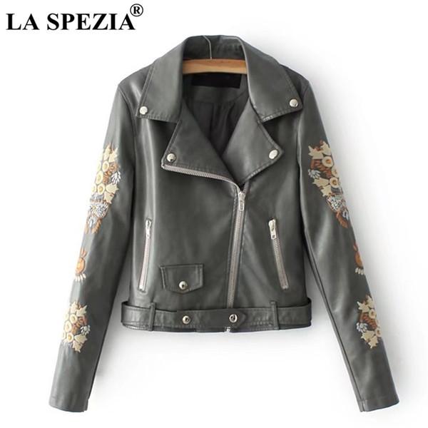 LA SPEZIA Women Short Jacket Green Leather Motorcycle Rock Coat Embroidered Ladies Biker Belt Zipper Pockets Rivet Autumn Jacket