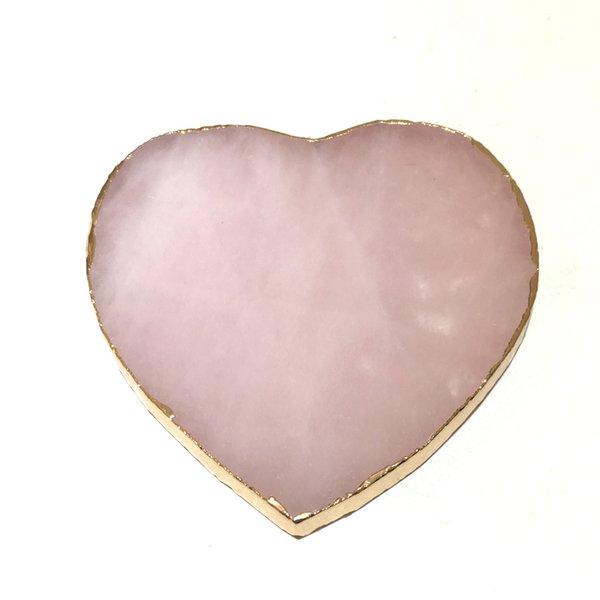 DingSheng 1pcs Natural Rose Quartz Heart Coaster Crystal Platter Electroplated Gold Color Jewelry for Cup Mat Display