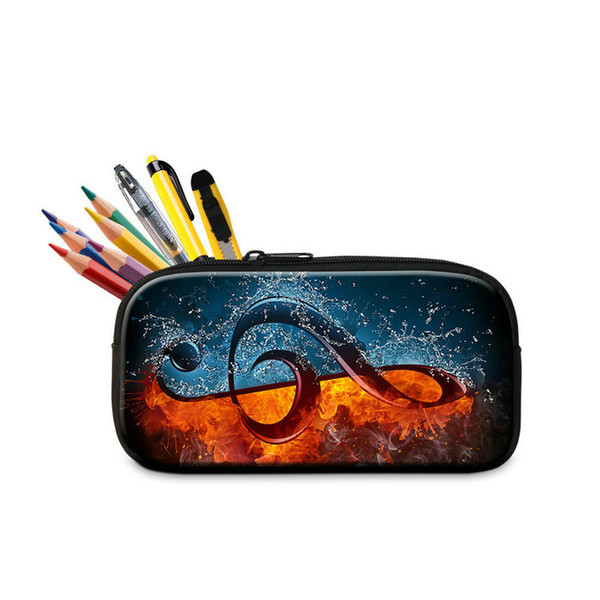 Creative Pencil Case Pen Bags For Kids Musical Note Printing Luxury Pen Box Ladies Outdoor Cosmetic Bag Children's Pencils Storage Wholesale