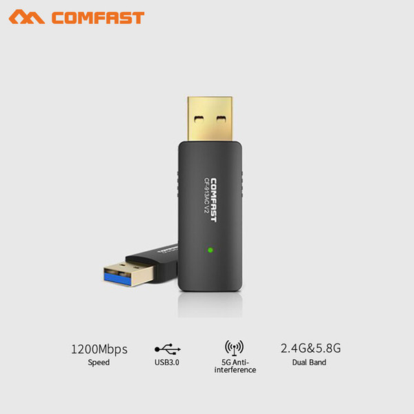 1200Mbps Dual Band Wireless USB wifi Dongle Adapter soft AP router function Wirless Network Lan Card 802.11ac usb3.0 pc adaptor